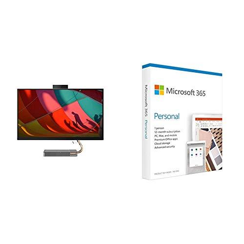 Lenovo IdeaCentre AIO A540 68,6 cm (27 Zoll, 2560x1440, QHD, IPS) All-in-One Desktop-PC (Intel Core i5-9400T, 8 GB RAM, 512 GB SSD, WiFi, Windows 10 Home) grau + Microsoft 365 Personal | Box