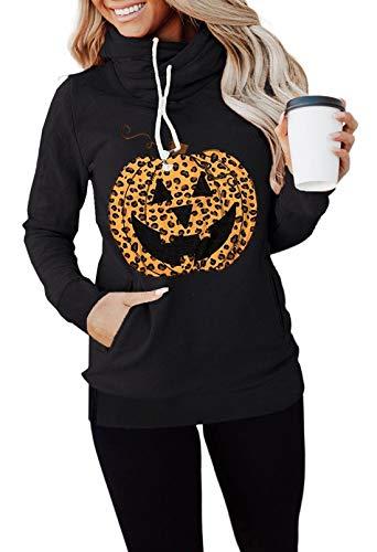 Sudadera con capucha y capucha para mujer, cuello alto, con capucha, con capucha, para Halloween, diseño de calabaza, para mujer