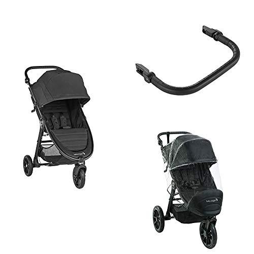 Baby Jogger City Mini GT2 Kinderwagen Buggy | Bundle mit Wetterschutz & Sicherheitsbügel | Jet (schwarz)