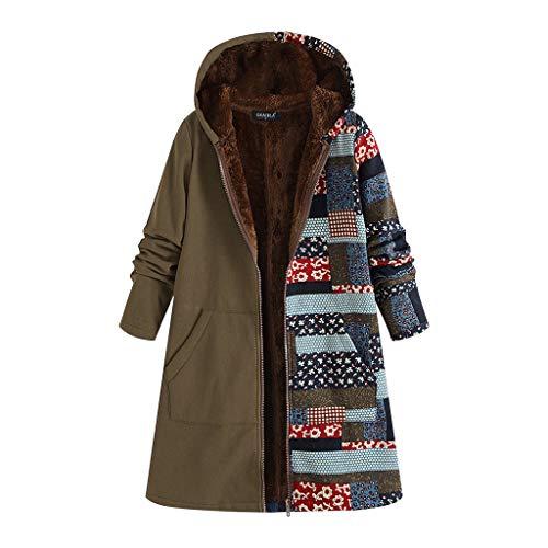 TEFIIR Frauen Kapuzenmantel Drucken Genähte Lange Sweatshirt mit Reißverschluss Verdickung Pelzigen Oberbekleidung Herbst/Winter Hoodies Pullover