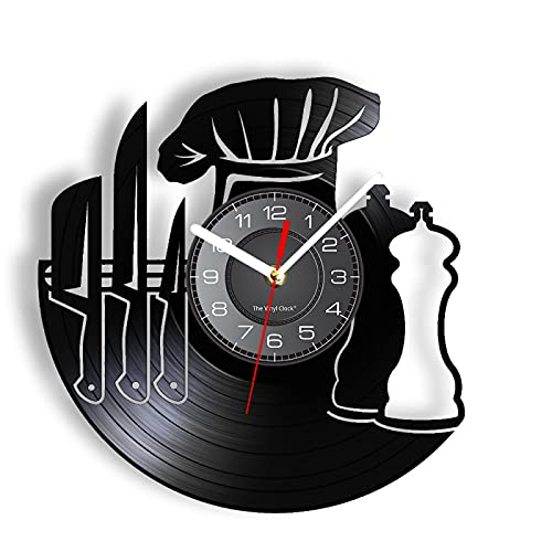 LIMN Wall Clock Cook & Chef's Gift Seasoner Chef Hat Knife Tool Wall Clock Made Of Real Vinyl Record LED Retro Wall Watch Kitchen Hanging Decor