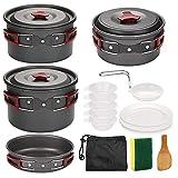 Tuimiyisou Estufa de Camping Juego de Utensilios de Picnic al Aire Libre Conjunto de Cook Set de Picnic portátil Ultraligero Doblar Utensilios de Cocina Pan 5-6 Personas para cocinar Rojo