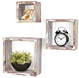 Greenco Rustic Cube Wall Mounted Floating Shelves (Set of 3)