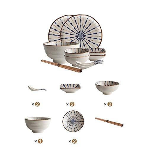Juego de Platos de cerámica, Juego de Platos japoneses Juego de tazones para el hogar Juego de Platos Combinados Juego de vajilla para Dos, Cuatro y Seis Personas