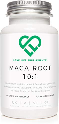 Love Life Supplements Maca Root 10:1 Extract | 60 Vegan Capsules x 600mg (6000mg Equivalent) | Rich in B Vitamins, Vitamins C and E, Calcium, Zinc, Iron, Magnesium, Phosphorous and Amino Acids.