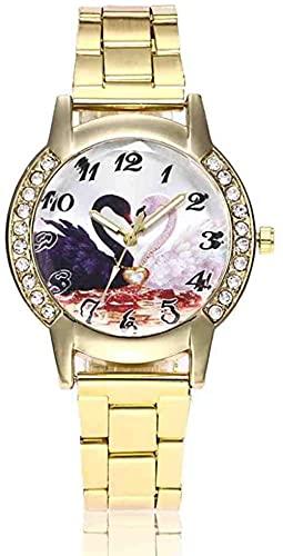 Mano Reloj Reloj de pulsera Moda Mujeres Cuarzo Relojes de pulsera Swan Heart Ladies Rhinestone Vestido Reloj hembra Banda de acero inoxidable Relogiono Relojes Decorativos Casuales ( Color : Gold )