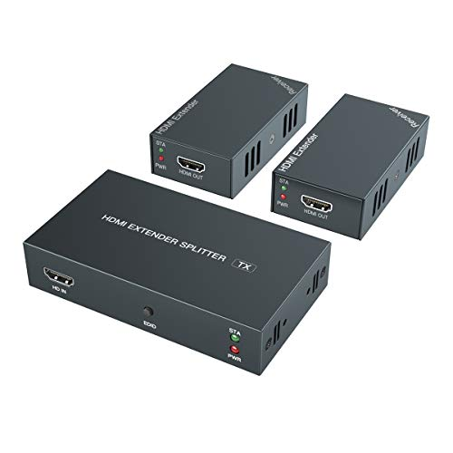 HDMI Extender 1 to 2 Splitter Transmit 1080p HD Video Over 50m/165ft Ethernet Cat5e/6 with 2 HDMI Local Output, Works with Computer/Camera/Projector/TV