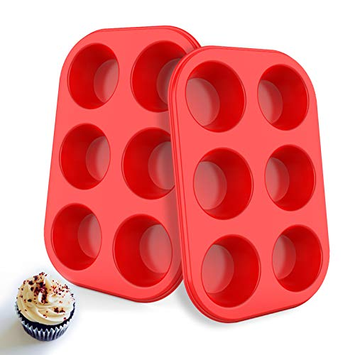 Silicone Muffin Pan 6 Cup, European LFGB Silicone Cupcake Baking Pan - Set of 2, Non-Stick Muffin Tins, LFGB Approved Egg Muffin Tray, Food-Grade Muffin Molds