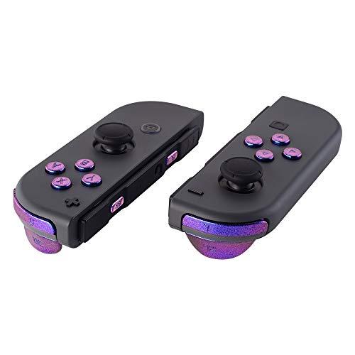 eXtremeRate Knöpfe Kit ABXY Tasten Buttons SR SL L R ZR ZL Trigger Tasten Federn Komplett Set Ersatzteile mit Werkzeug für Nintendo Switch JoyCon(Lila-Blau)-Keine JoyCon Hülle