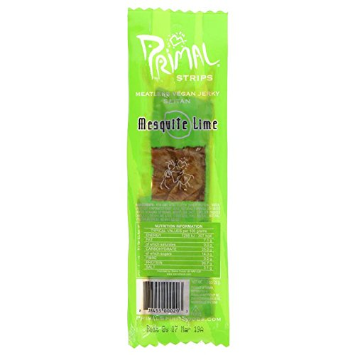 Primal Vegan Jerky | Seitan - Mesquite Lime Jerky | 7 x 28g