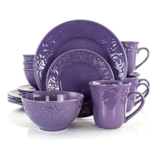 Elama Embossed Stoneware Elegant Round Dinnerware Dish Set, 16 Piece, Lilac Purple