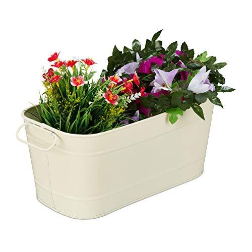 Relaxdays Blumenkasten, für Garten, Balkon & Fensterbank, zum Bepflanzen, Vintage-Optik, Metall, HBT: 16x38x19 cm, Creme