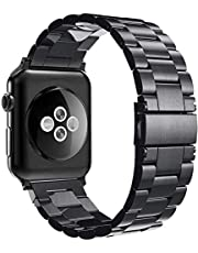 Simpeak Band Compatible with iWatch 42mm 44mm, Match 2pc Links, Stainless Steel Wirstband Replacement for iWatch Series 5 4 3 2 1, Black,Silver,Rose Gold,Bright Black,Silver/Black,Bright Gold