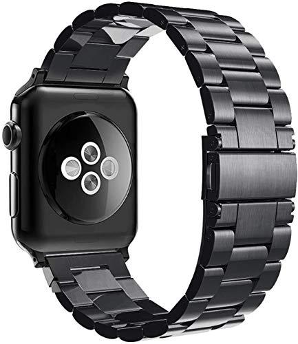Simpeak Armband kompatibel mit Apple Watch Armband 42mm 44mm Edelstahl Metall Ersatz Armband für Series 6 Series 5 Series 4 Series 3/2 /1, SE - Schwarz