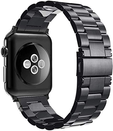 Simpeak Correa Compatible con Apple Watch Series 4/Series 3/Series 2/Series 1 42mm Reemplazo de Banda con Metal Corchete Compatible con iWatch Todos los Modelos, Negro