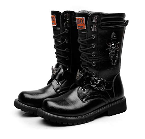 LBZJD Männer Hoch-Spitze Martin Stiefel Desert Boots Harley-Motorrad-Aufladungen Dick Trendy Hoch-Spitze Männer Stiefel Kampf-Stiefel Militärstiefel Cowboystiefel,43