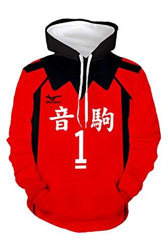 Newhui Haikyuu Kuroo Tetsurou Cosplay Hoodie Sweatshirts Nekoma High School Volleyball Uniform Pullover Jacket, No.1, Large