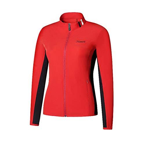 Dames Golfkleding, Lichtgewicht Ademend Golf Ritssluiting Aan De Voorkant Jersey Sneldrogende Sportkleding,Red,XXL