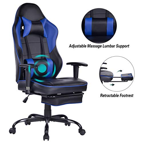 Blue Whale Massage Gaming Chair with Footrest, High Back Racing PC Computer Desk Office Chair Swivel Ergonomic Executive Leather Chair with Adjustable Armrest 8332Blue chair footrest gaming