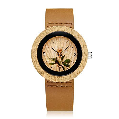 Relojes de Madera para Hombre Reloj de Mujer Simple de Lujo Superior Relojes de Pulsera de Madera de bambú Reloj Correa de Cuero