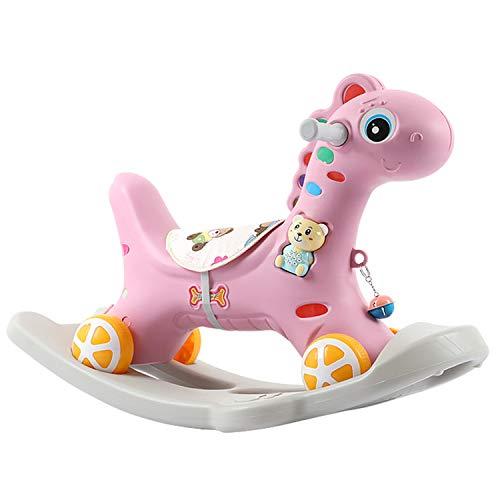 AJAMQ Multifunzionale 2 in 1 Cavallo A Dondolo per Bambini, Auto Giocattolo del Regalo di Compleanno Bambino 1-5 Anni più Bambino Cavallo A Dondolo,Rosa