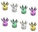 Keleily Tapones Rueda Coche 8 Piezas Tapones Válvula Aluminio Tapas Neumáticos Crown Tapa Válvula Francesa Tapas Vástago Válvula para Camiones, Motos, Bicicletas, Dorado, Plateado, Verde, Rosa Rojo
