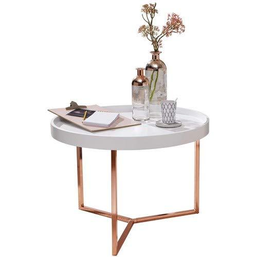 Wohnling Waiter O04 Tavolino, Acciaio / Legno Massello, Rame / Bianco