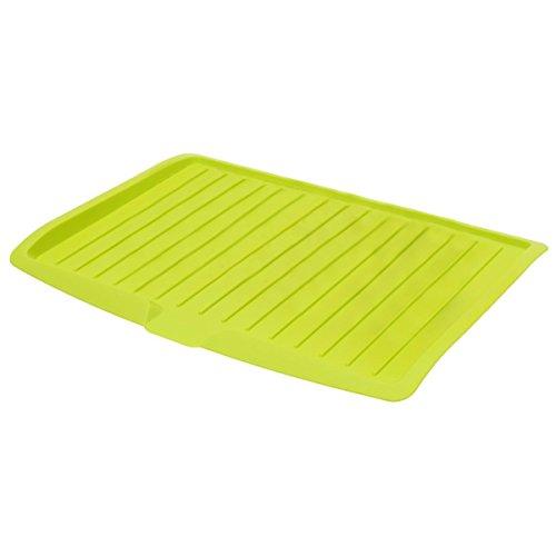 Plato de escurridor - SODIAL(R)Escurreplatos de plastico bandeja de goteo de estante de fregadero de cuchilleria de cocina grande y verde
