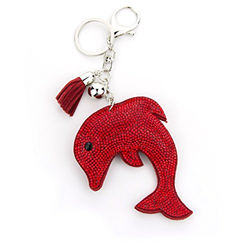 MANUMAR Schlüsselanhänger Handtaschen Dekoration in Delfin Motiv aus glitzernden Strass Steinen mit Kordel und Fransen Geschenkidee