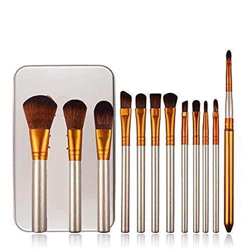 Maquillage Pinceaux, Brosses De Maquillage Boîte En Fer Professionnel 12Pcs Cosmétiques Pour La Fondation Kabuki Fard À Joues Blending Fard À Paupières Correcteur Brosses Cosmétiques Set,Métallique