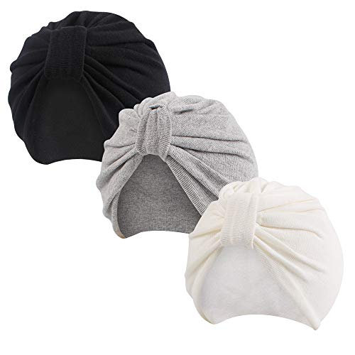 Pesaat 3 Pack Autumn Newborn Hospital Hat Baby Girl Bow Beanie Spring Cotton Baby Hats for Infant Girls 0-18M (White+Grey+Black, S)