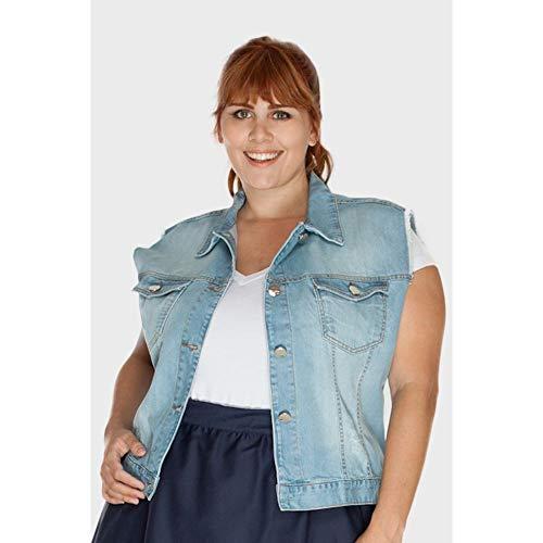 Colete Jeans Médio Plus Size AZUL CLARO-48