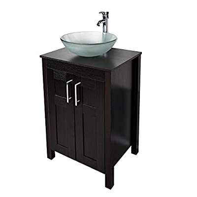 """24"""" Bathroom Vanity and Sink Combo - YOURLITEAMZ Stand Cabinet with Artistic Vessel Sink and Faucet and Pop Up Drain"""