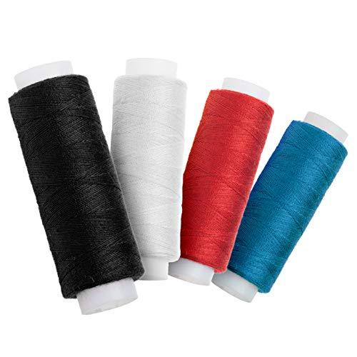 Faden & Nadel Nähgarn-Set: 4 Rollen Nähgarn in Standardfarben; aus 100% Polyester; Länge: je 100 m