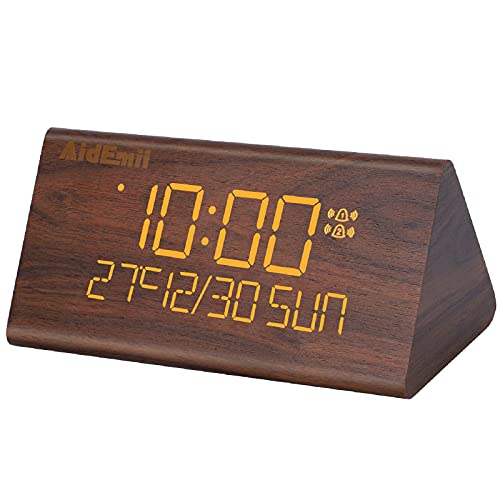 Digital Alarm Clock for Bedroom, LED Time and Temperature Display, 7 Adjustable Brightness, Dual Alarm Settings, Snooze Function, Sound Control. Wooden Digital Clock for Bedside
