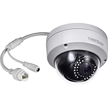 TRENDnet Indoor/Outdoor 1MP H.264 PoE IR Dome Network Camera Night Visions up to 30m  98ft  IP67 Motion Detection TV-IP325PI