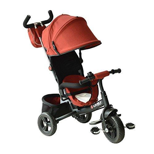 homcom Triciclo Passeggino per Bimbo con Maniglione, Tettuccio Deluxe Struttura in Metallo, 96 x 53.5 x 101cm, Colore: Nero e Rosso