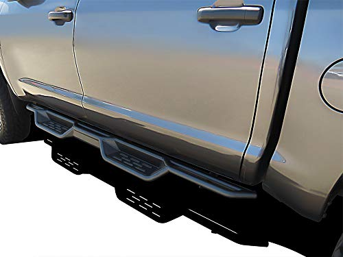 APS Black 6 Inches Tubular Drop Down Style Nerf Bars Running Boards Compatible with Toyota Tundra 2007-2021 CrewMax