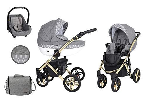 KUNERT Kinderwagen MILA PREMIUM CLASSIC Sportwagen Babywagen Autositz Babyschale Komplettset Kinder Wagen Set 3 in 1 (Grauer Würfel, Rahmenfarbe: Gold, 3in1)