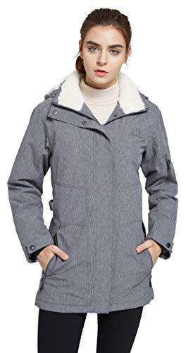 svacuam Women's Hooded Thickened Insulated Quilted Puffer Coat Heavy Padded Winter Parka Anorak Jacket(Grey,L)