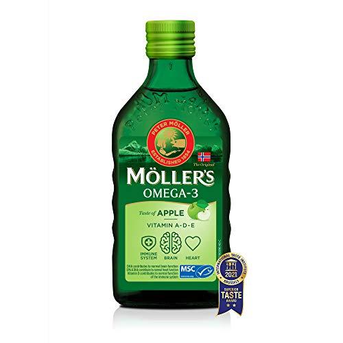 Moller's  | Aceite de hígado de bacalao con omega 3 | Complemento dietético con omega-3 EPA, DHA y vitaminas A, D y E | Aceite de hígado de bacalao | Sabor Manzana | 250 ml