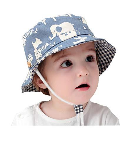 GEMVIE Fischerhut Baby Junge Mädchen Sonnenhut Kleinkind mit Tierdruckt für 0-6 Jahre Blau (Umfang von Hut 48cm)