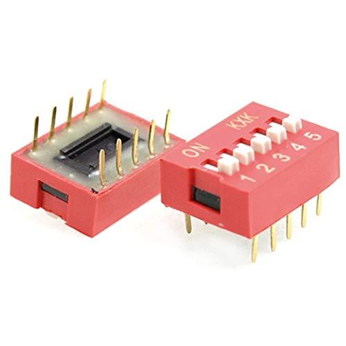 New Lon0167 10 piezas, Destacados color rojo, doble eficacia confiable fila, 10 pines, posiciones 5P, interruptor DIP, paso de 2,54 mm(id:0da 49 0e bc0)