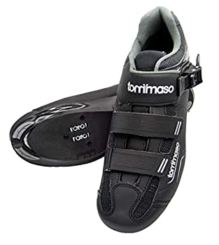 Tommaso Strada 200 Dual Cleat Compatible Road Bike Touring Indoor Cycling Shoe with Buckle - 48 Black
