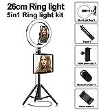 Anillo De Luz LED Selfie con Trípode, Regulable 3200-5500K, Utilizado para Maquillaje De Teléfonos Inteligentes En Vivo Youtube En Vivo,26cm,Package Two