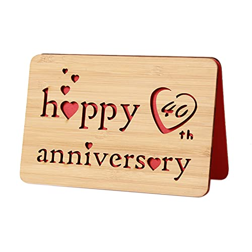 I Love You 40th Anniversary Cards,Handmade With Real Bamboo Wood, Greeting...