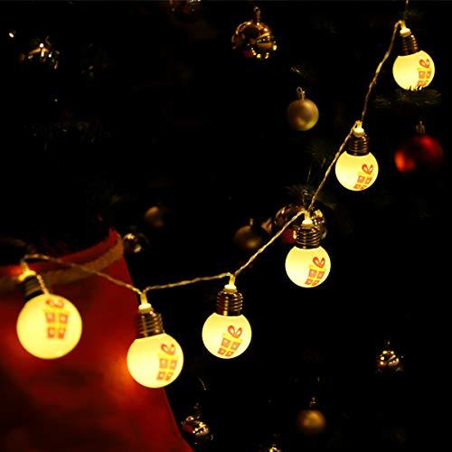 SALCAR Kugel Licht mit 1,5 m LED-Schnur, 10 LEDs Kugeln, Licht mit bemalter Geschenkbox, Weihnachtsdeko, LED-Licht mit 2AA Batterie betrieben, PVC-Baum, Lichterkette - Warmweiß
