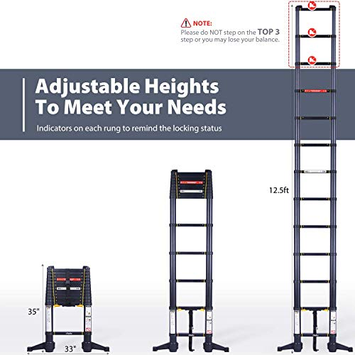 Ohuhu 12.5 FT Premium Aluminum Telescoping Ladder, ONE-Button RETRACTION ANSI Certified Patented Design Extension Ladder, 2020 All New Heavy Duty Extendable Telescopic Ladder with 330 Pound Capacity