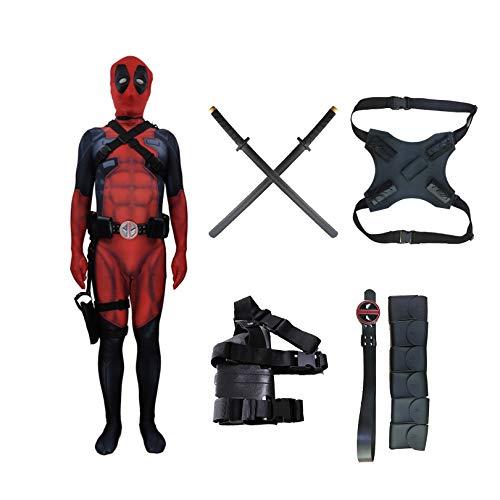 El Disfraz de Cosplay de Deadpool Viene con 2 Espadas de PU para niños, Adultos, Halloween, Navidad, cumpleaños, Fiesta, impresión 3D, Baile de graduación, Traje Zentai,Red-Kid XL (130~140cm)
