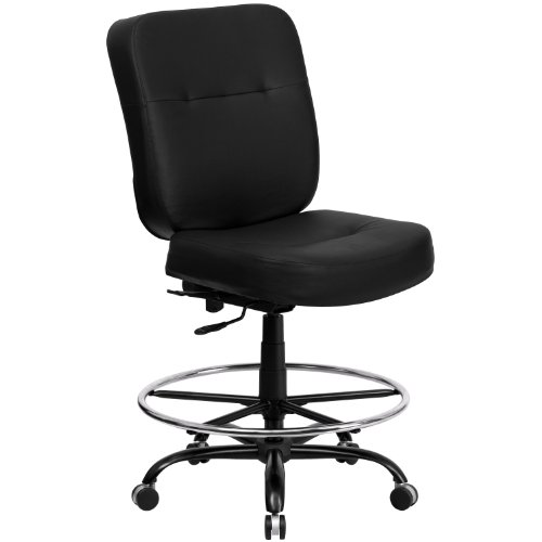 Big Sale Flash Furniture WL-735SYG-BK-LEA-D-GG Hercules Series 400-Pound Big/Tall Black Leather Drafting Stool with Extra Wide Seat